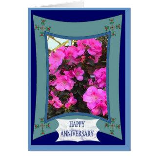 Happy Anniversary, Vivid pink Greeting Card