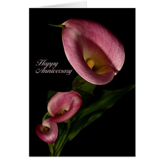 Happy Anniversary with Pink Calla Lily Card