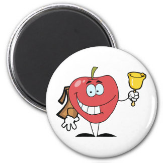 Happy Apple Ringing A Bell For Back To School 6 Cm Round Magnet
