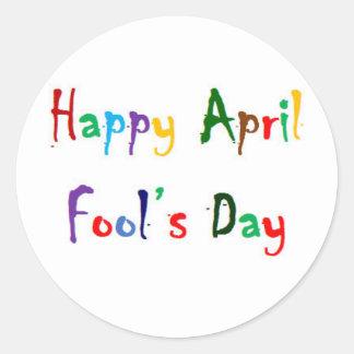 Happy April Fool's Day Round Glossy Sticker