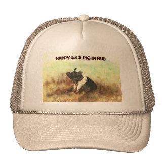 """Happy as a Pig in Mud"" - Men's Trucker Hat"
