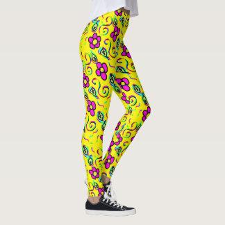 happy attractive flower leggins leggings
