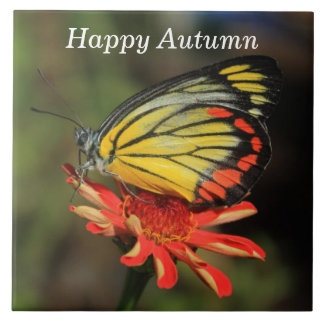 Happy Autumn Butterfly Tile
