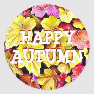 Happy Autumn Fall Leaves Stickers