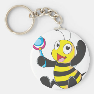 Happy Baby Bee Basic Round Button Key Ring