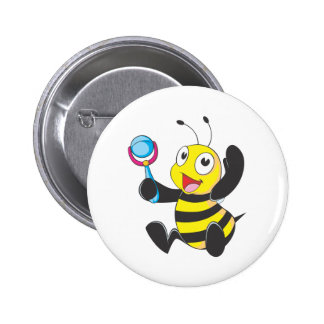 Happy Baby Bee Pinback Button