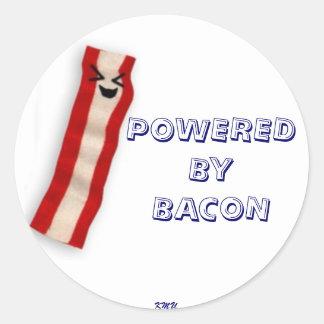 happy bacon round sticker