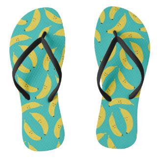 Happy Bananas Cute Beach Summer Flip Flops Thongs