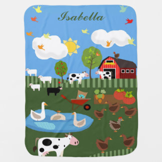 Happy Barnyard Animals Scene Custom Name Receiving Blanket
