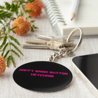 Happy basic button key chain