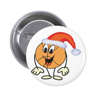 Happy basketball smiley  wearing a santa hat 6 cm round badge