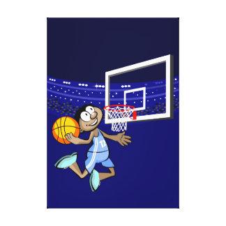 Happy basquethbolista boy by its feat canvas print