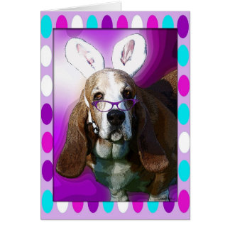 Happy Basset Hound Easter Greeting Card
