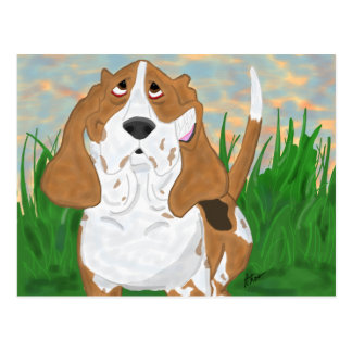 Happy Basset Hound Postcard