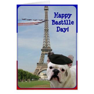 Happy Bastille Day French Bulldog greeting card