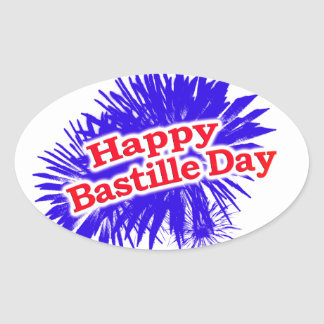 Happy Bastille Day Graphic Logo Oval Sticker