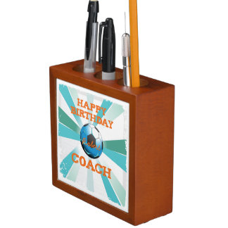 Happy Bday Soccer Coach Orange/Teal/Blue Starburst Desk Organiser