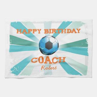 Happy Bday Soccer Coach Orange/Teal/Blue Starburst Tea Towel