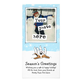 Happy Beagle in the Snow Personalised Photo Card