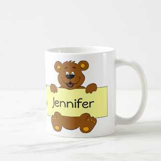 Happy bear with customizable banner cartoon kids coffee mug