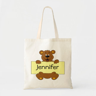 Happy bear with customizable banner cartoon tote bag