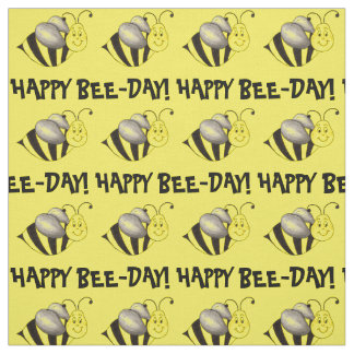 Happy Bee Day Yellow Bumblebee Bee Birthday Fabric