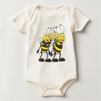 Happy Bee Family Having Fun Together Baby Bodysuit