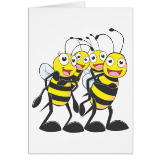 Happy Bee Family Having Fun Together Cards