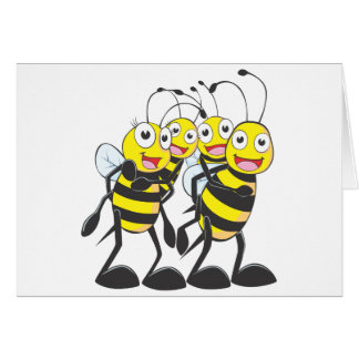 Happy Bee Family Having Fun Together Card