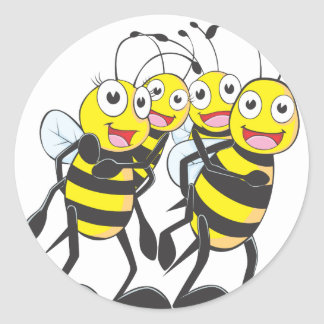 Happy Bee Family Having Fun Together Round Sticker