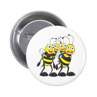 Happy Bee Family Pinback Buttons