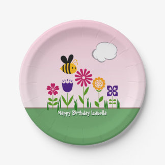 Happy Bee Flower Garden Personalized 7 Inch Paper Plate