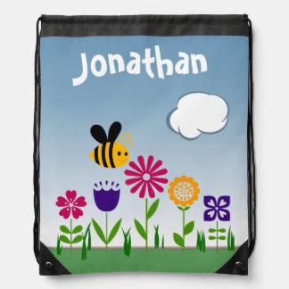 Happy Bee Flower Garden Personalized Drawstring Bag