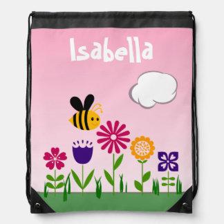 Happy Bee Flower Garden Personalized Rucksacks