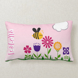 Happy Bee Flower Garden Personalized Lumbar Cushion