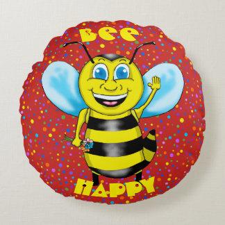 Happy Bee Round Pillow