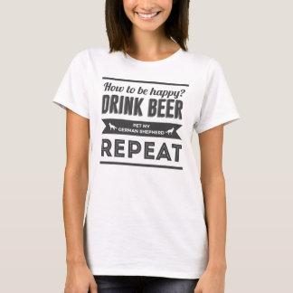 Happy Beer Booze German Shepherd Dog Life Funny T-Shirt