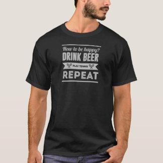 Happy Beer Booze Tennis Life Funny T-Shirt