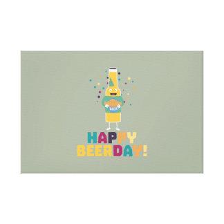 Happy Beerday Beerbottle Zhnp3 Canvas Print