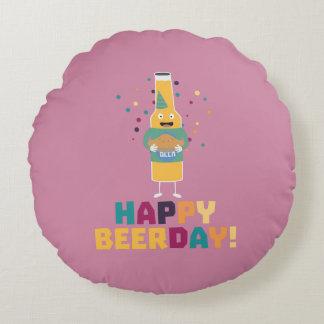 Happy Beerday Beerbottle Zhnp3 Round Cushion