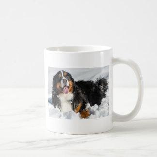 Happy Bernese Mountain Dog In Winter Snow Coffee Mug