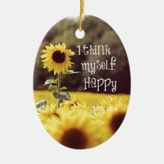 Happy Bible Verse with Sunflowers Ceramic Oval Decoration