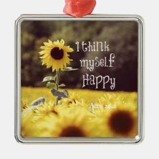 Happy Bible Verse with Sunflowers Christmas Ornament
