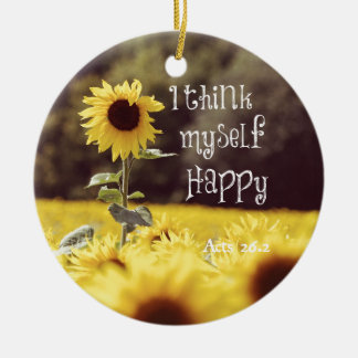 Happy Bible Verse with Sunflowers Christmas Ornaments