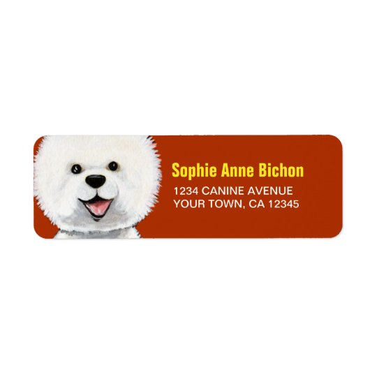 Happy Bichon Frise Dog Return Address Label