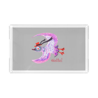 Happy Bird in Red Hat, Small Vanity Tray