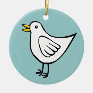 Happy Bird - White on Ocean Green Round Ceramic Decoration