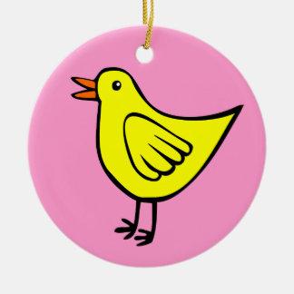 Happy Bird - Yellow and Pink Round Ceramic Decoration