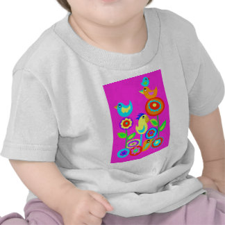 Happy Birds and flowers T-shirts