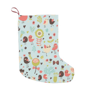 Happy Birds in Fields of Flowers Small Christmas Stocking